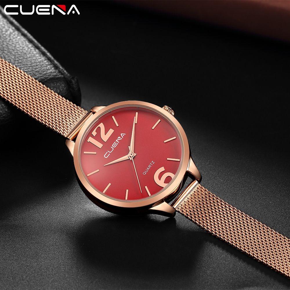 CUENA 6630G Women Fashion Stainless steel Watchband Quartz Wristwatch