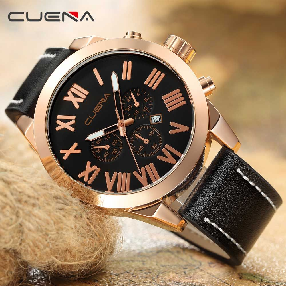 CUENA 6628P Men Fashion Leather Watchband Quartz Wristwatch