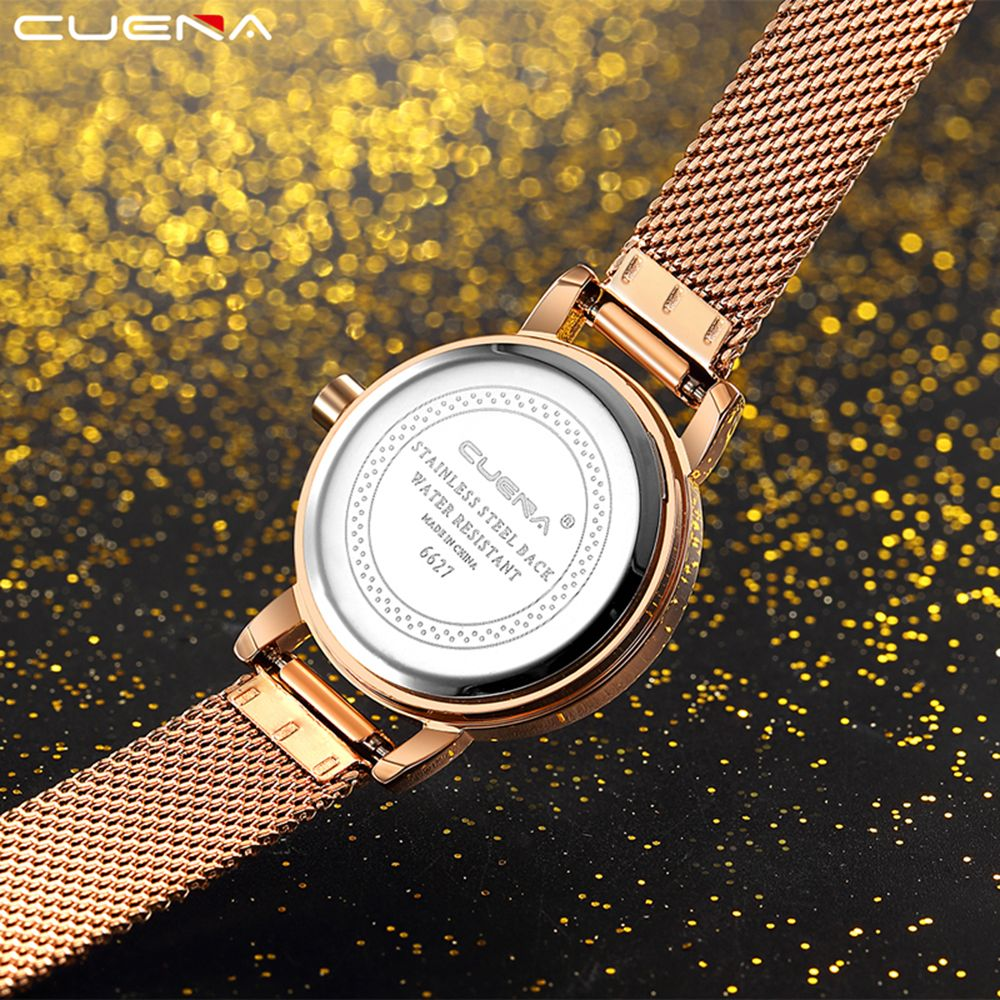 CUENA 6627G Luxury Women Quartz Watch Watche Waterproof Stainless Steel Watchband