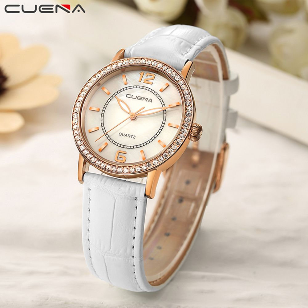 CUEAN 6626P Women Fashion Genuine Leather Band Quartz Wristwatch