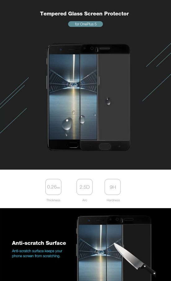 2.5D 9H Hardness Tempered Glass Full Cover Screen Film Protector for OnePlus 5