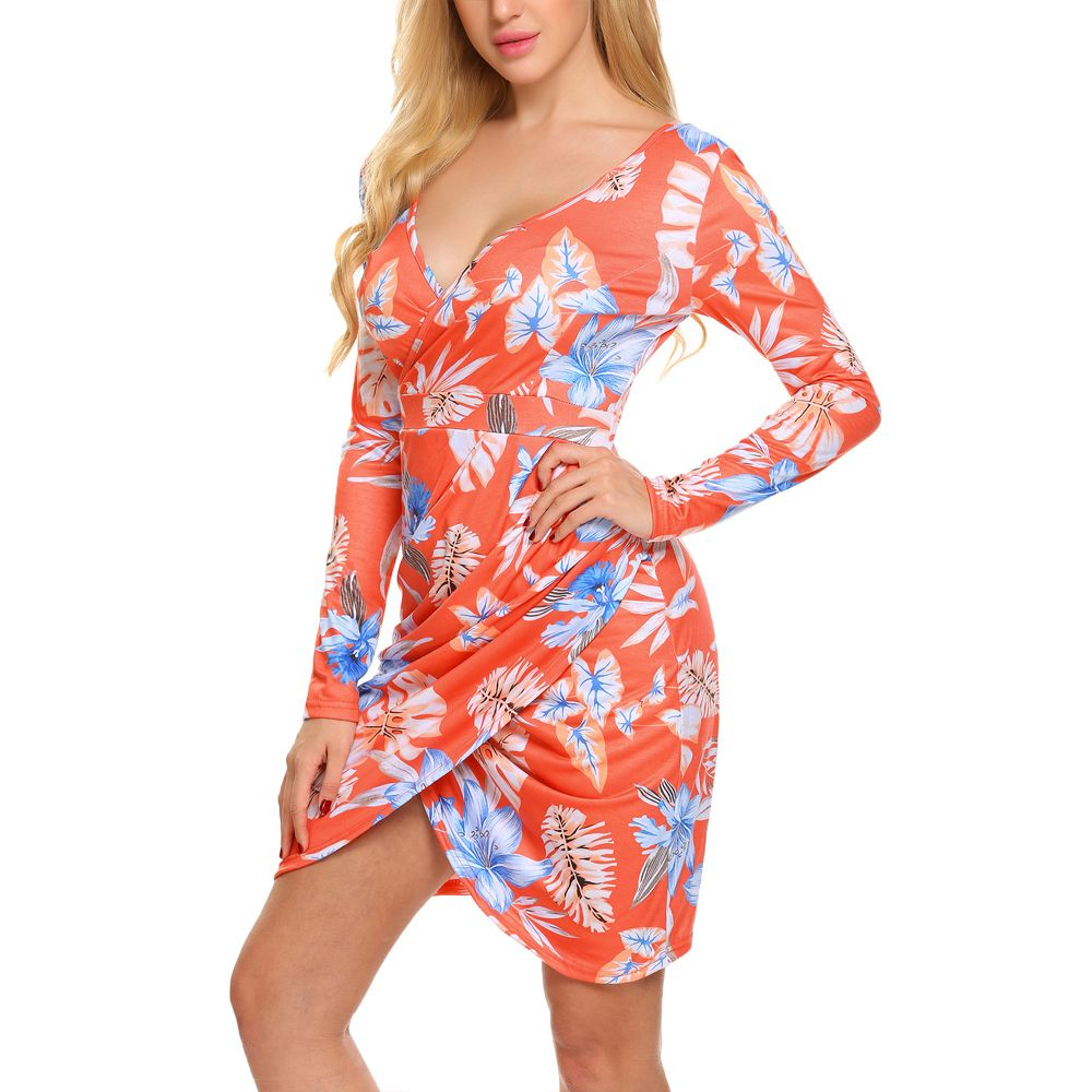 New European and American V-Neck Long Sleeve Printed Dress
