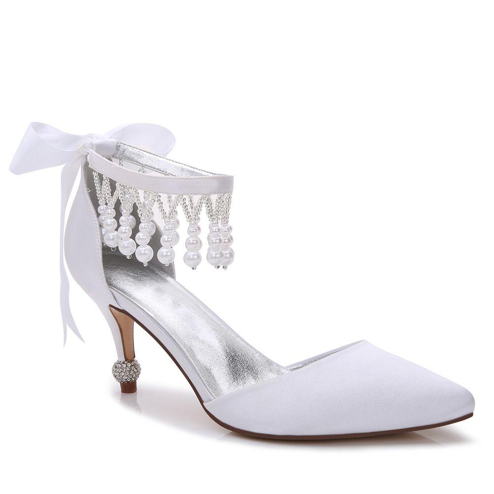 17767 18Womens Shoes Satin Spring Summer Basic Pump Comfort Ankle Strap Wedding Low Heel