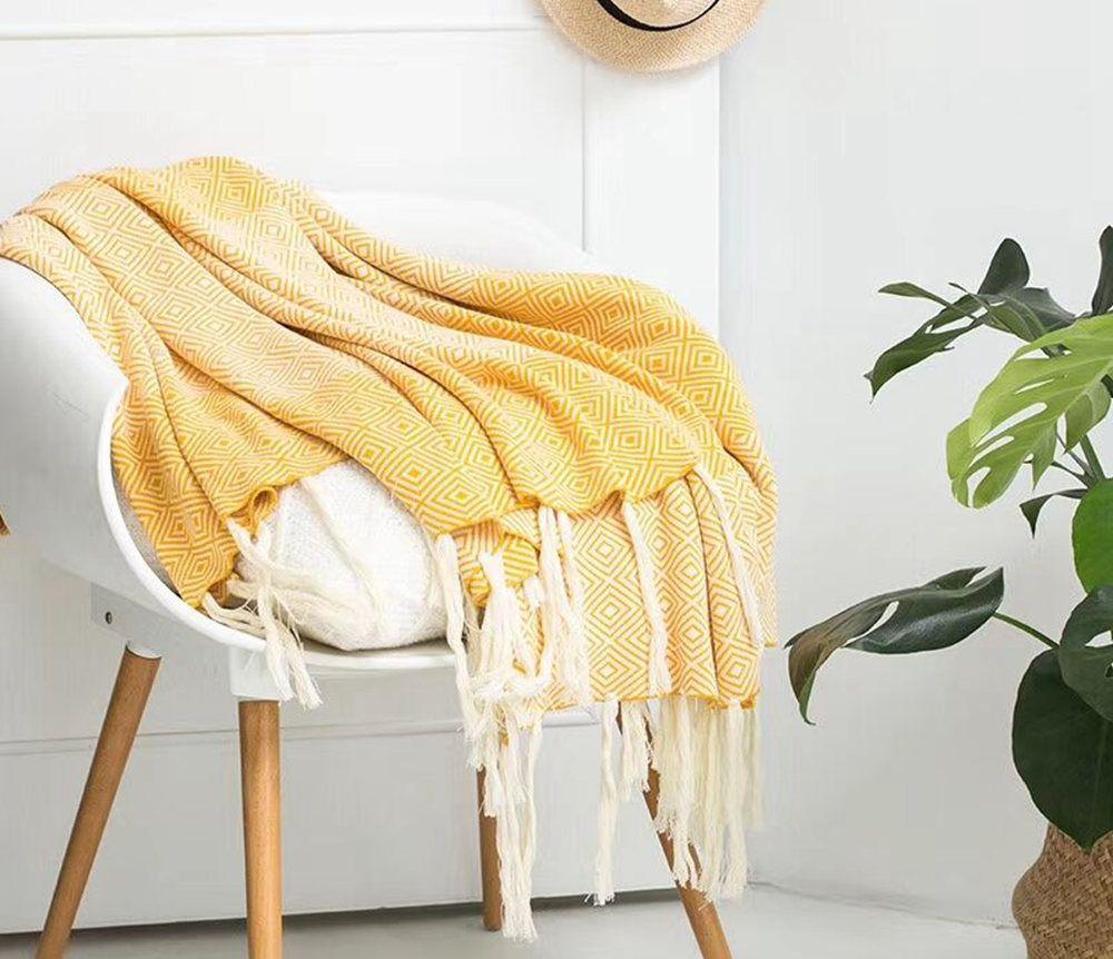Sofa Leisure Tassel Knitted Cotton Blanket