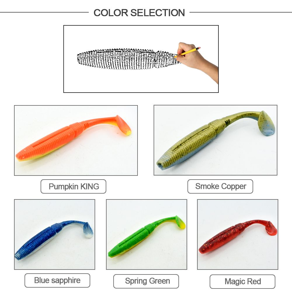 HONOREAL 5CM Bass Soft Plastic Bait Freshwater and Saltwater Shrimp Flavour Fishing Lure 6PCS