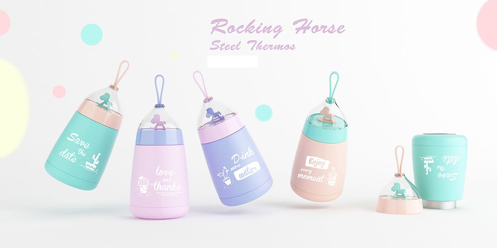 300ML Portable Ricketable Horse Stainless Steel Thermos