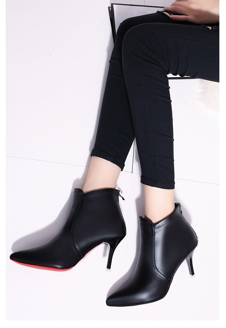 Pointed Short All-match Shoes with Zipper