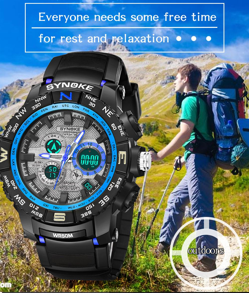 SYNOKE 6509 Outdoor Sports Mountaineering Student Male Electronic Watch