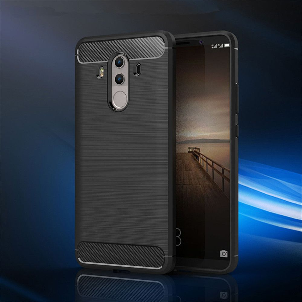 Fundas Carbon Fiber Antislip Rubber Cover for Huawei Mate10 Pro Case