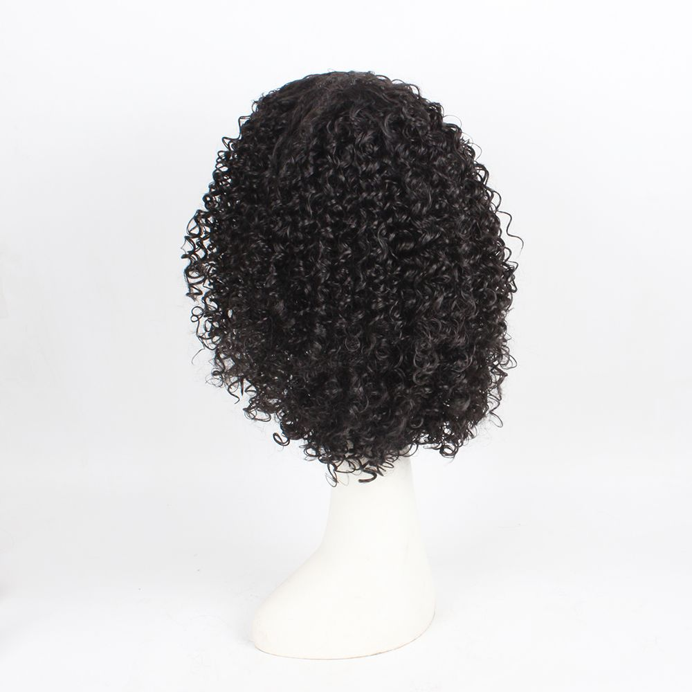 Curly Hair Synthetic Wigs for Women Jet Black Color High Temperature Fiber