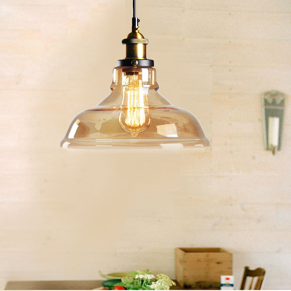 11inches Modern Industrial Edison Vintage Style Pendant Light Hanging Glass Mounted Fixture 2PCS