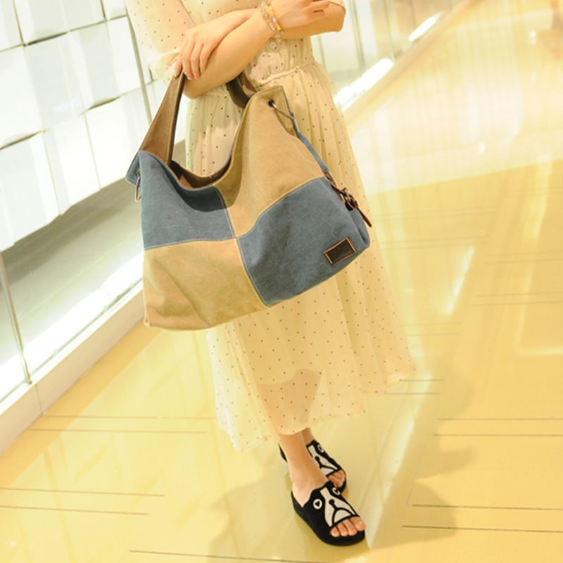Women's Handbag Classic Vintage Color Patchwork Large Capacity Casual Bag