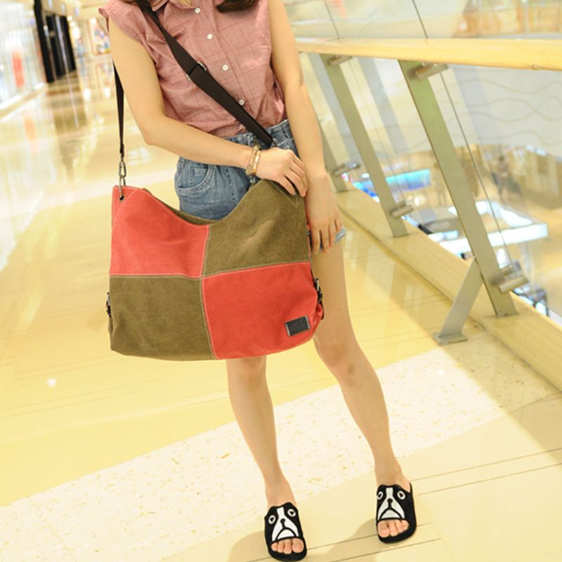 Women's Handbag Classic Vintage Color Patchwork Large Capacity Casual Bag
