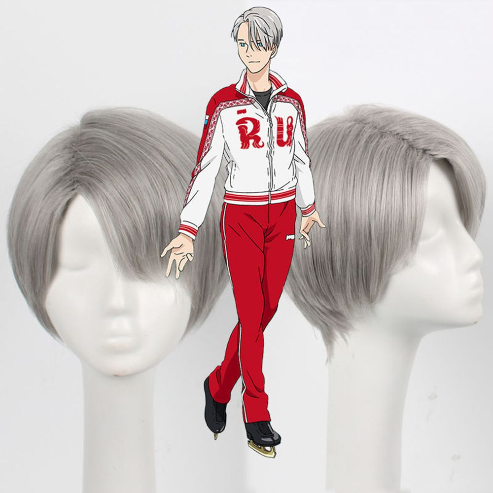 Short Synthetic Hair Gray Color Amine Cosplay Wigs For Men