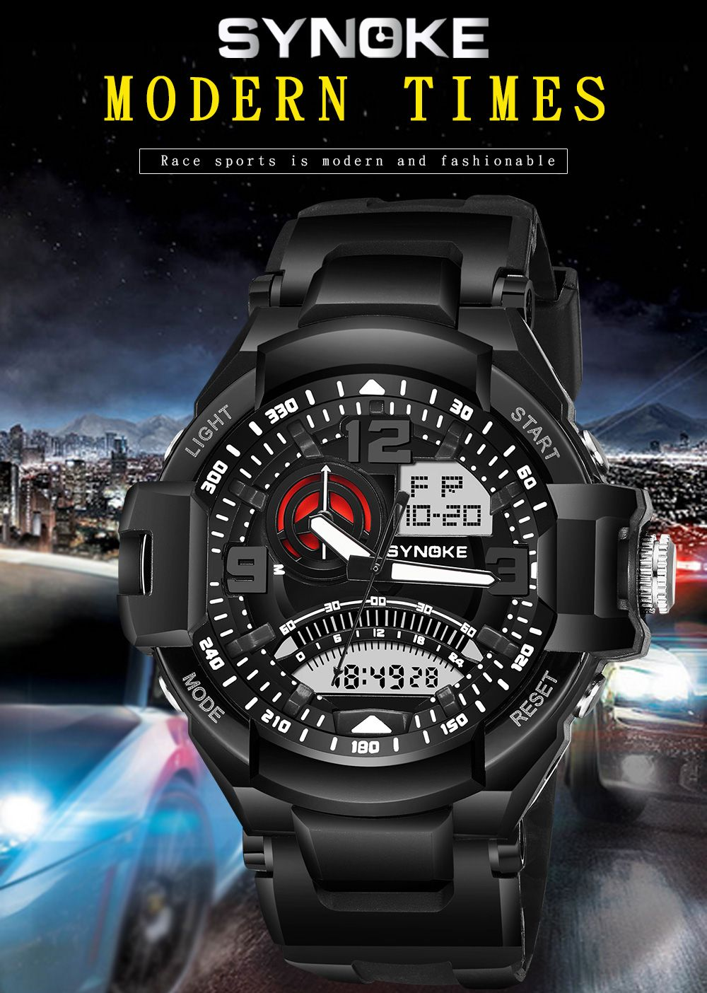 SYNOKE 67876 Trendy Waterproof Multifunctionable Men Watch