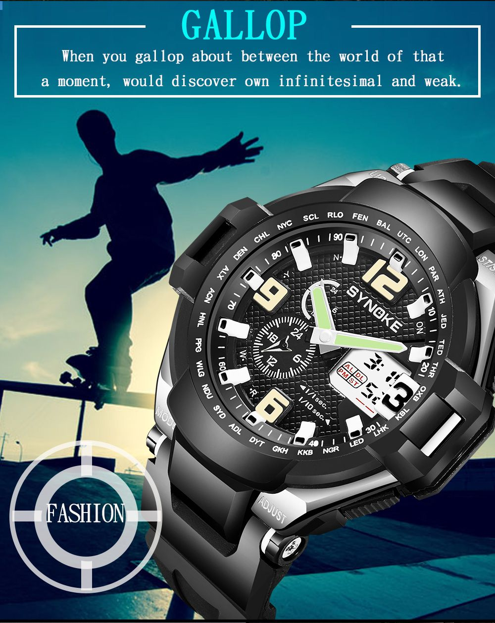 SYNOKE 67606 Outdoor Multifunctionable Student Electronic Male Watch