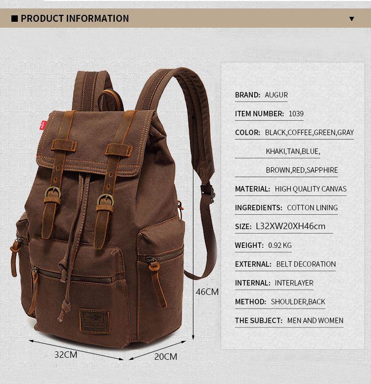 AUGUR Fashion Men Backpack Vintage Canvas School Bag Travel Large Capacity