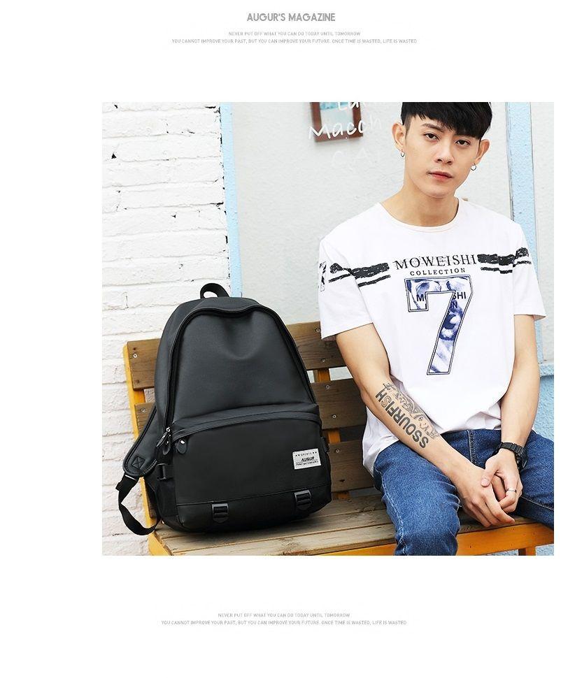 AUGUR Men Backpacks PU Leather USB Charging Travel Waterproof  Laptop Teenager Student School Bag