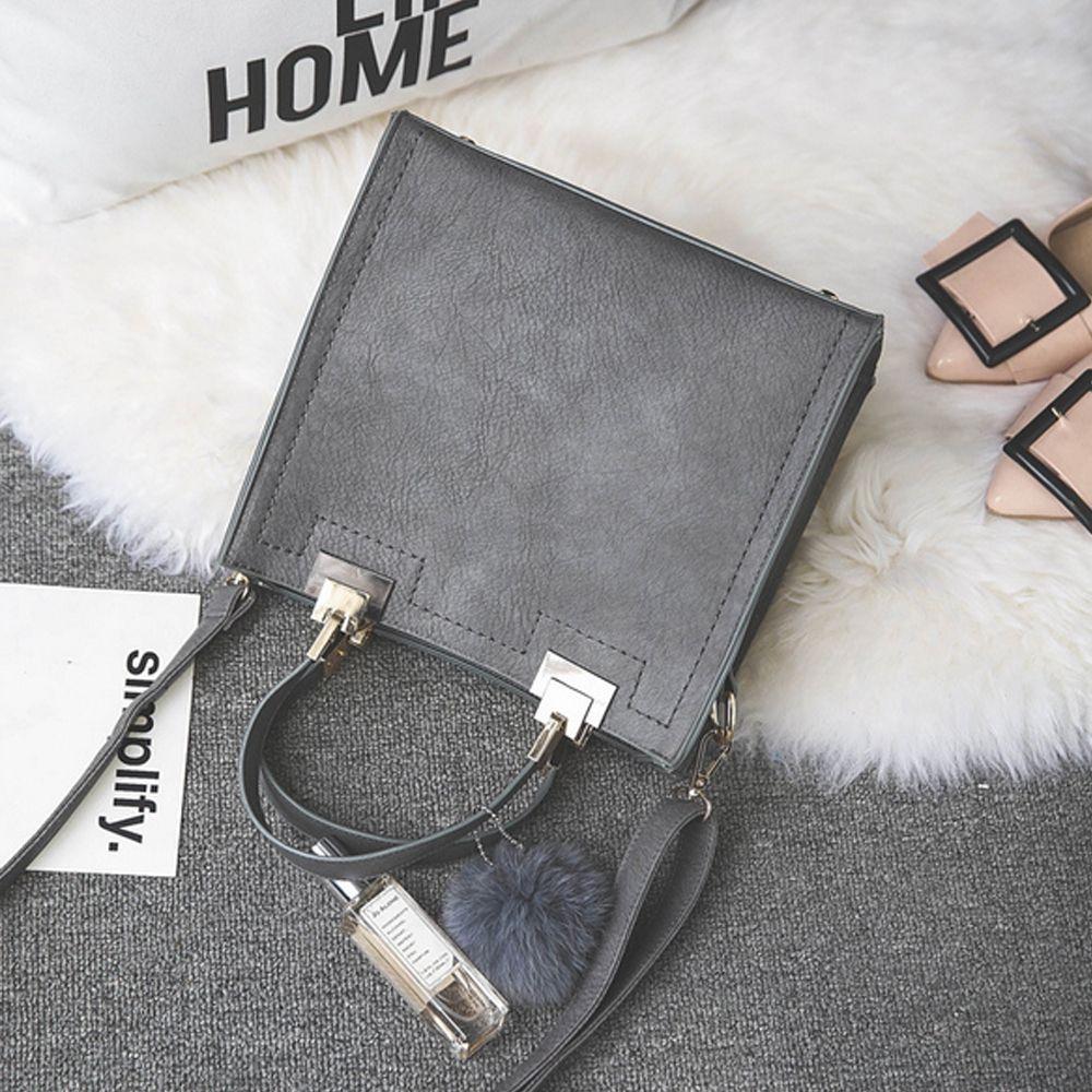 Women's Handbag Matting Brief Style Sterling Fluffy Ball Embossed Bag