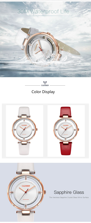 CADISEN C6140 Women Stainless Steel Band Quartz Wristwatch