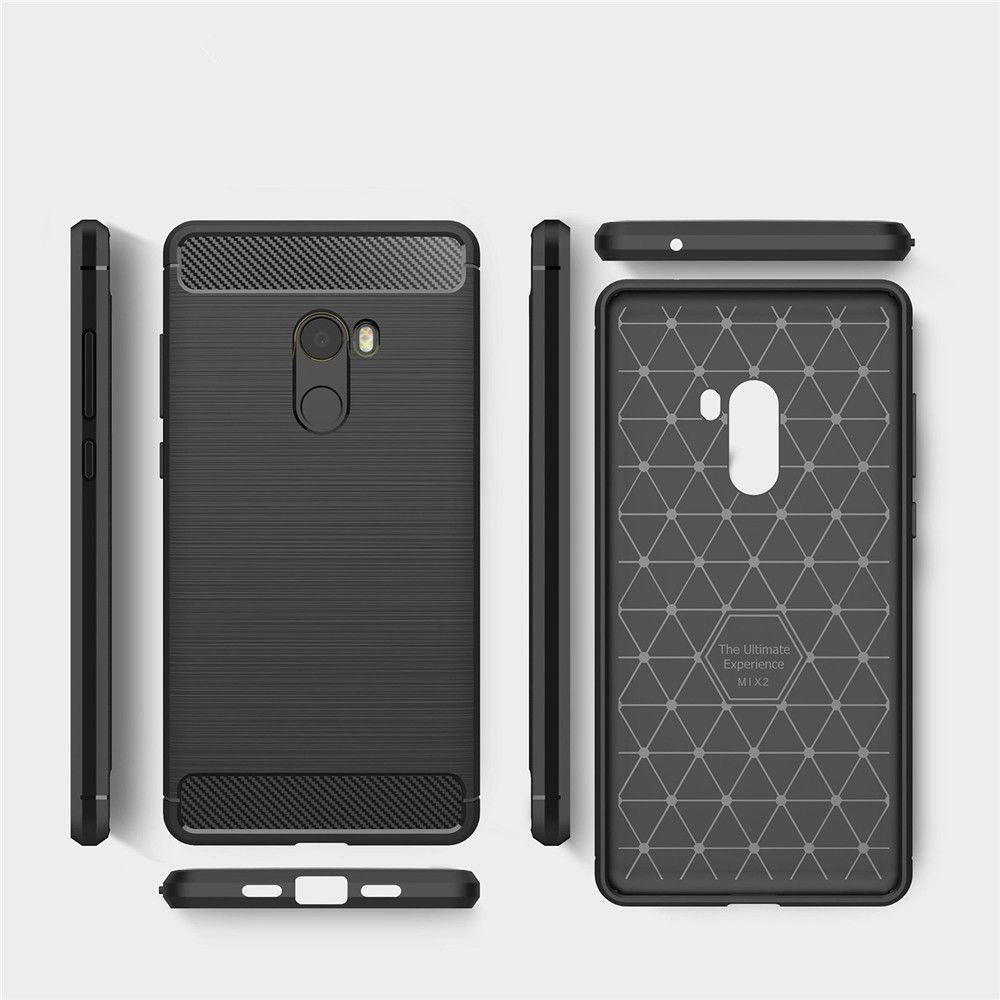 Shockproof Back Cover Solid Color Soft Carbon Fiber Case for Xiaomi Mix 2