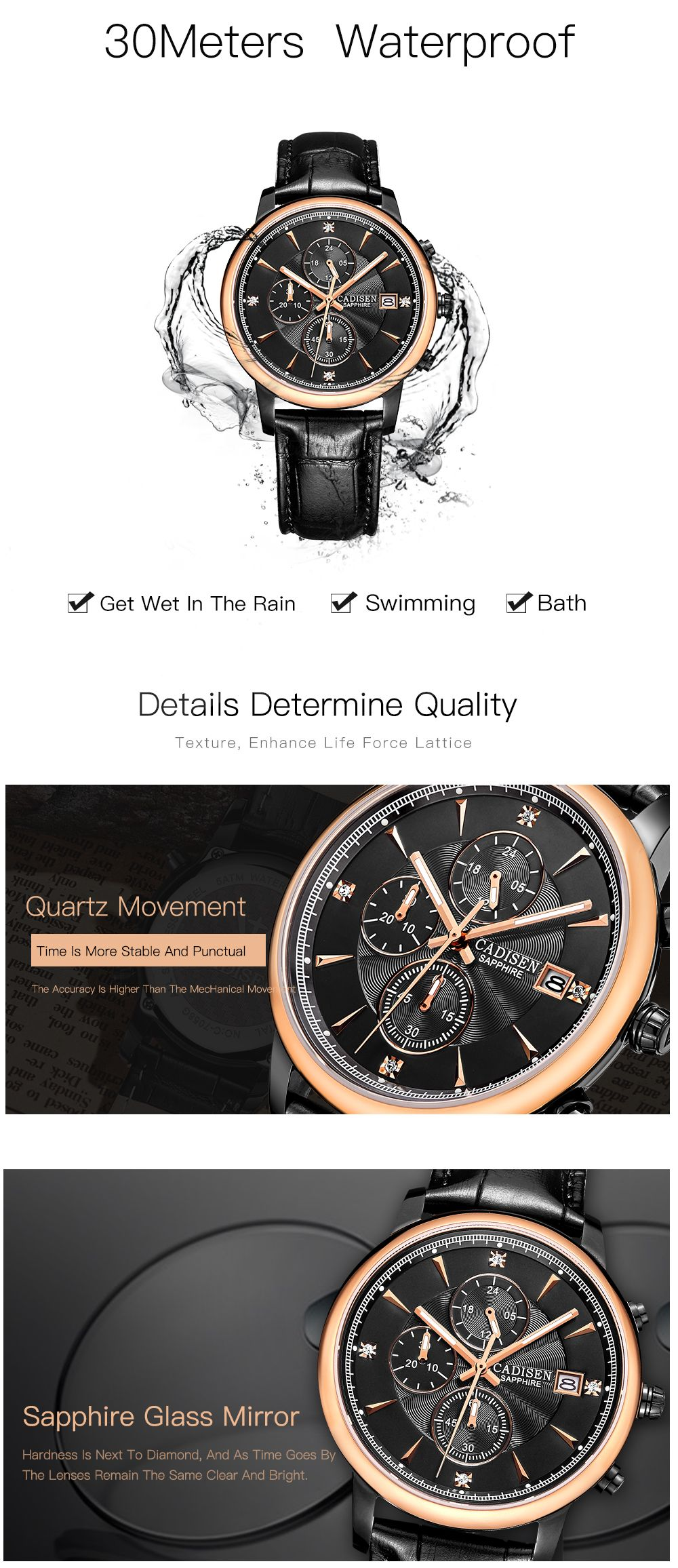 CADISEN Men Luxury Brand Quartz Analog Sports Wrist Watch
