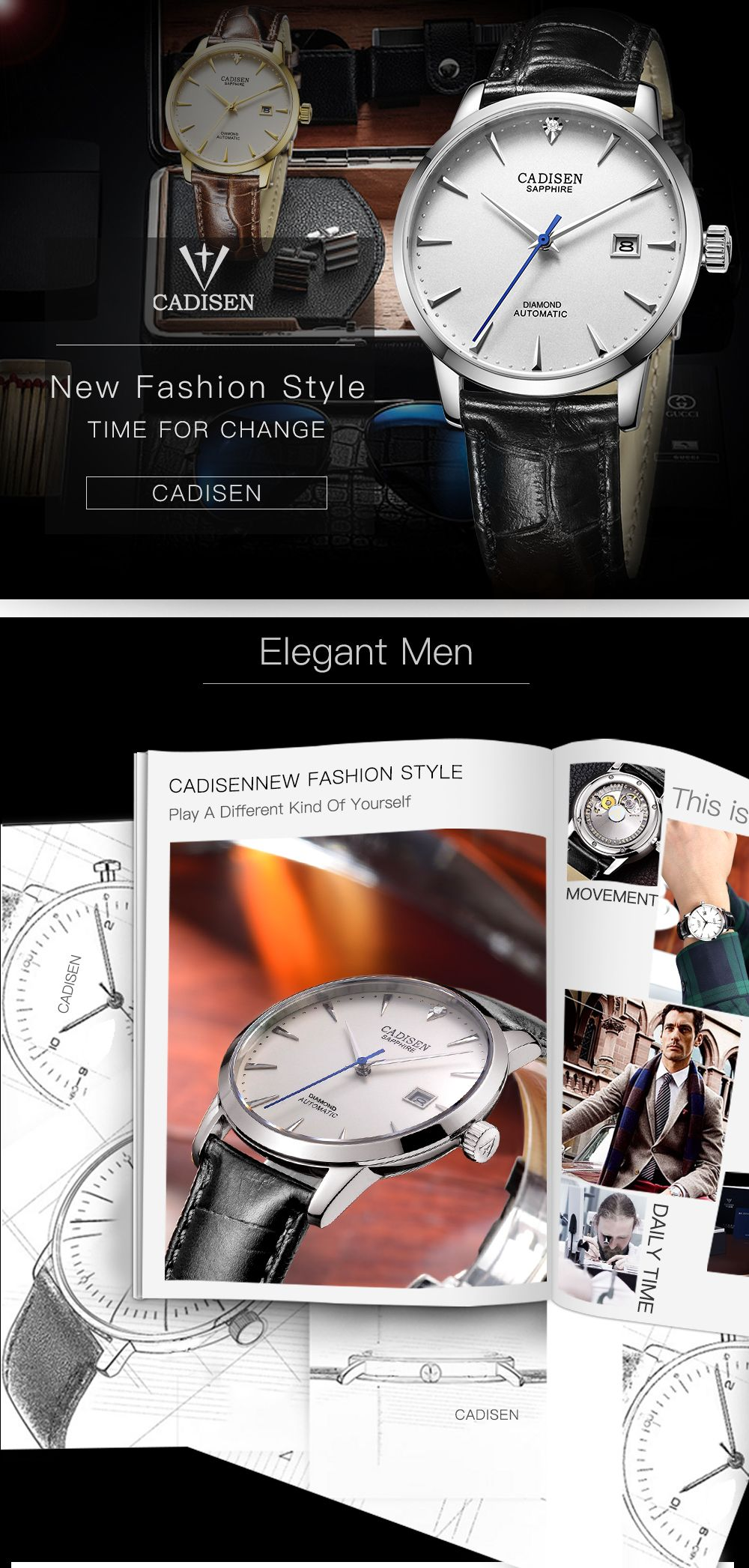 Cadisen C8097 Men Stainless Steel Brand Clock Automatic Watch