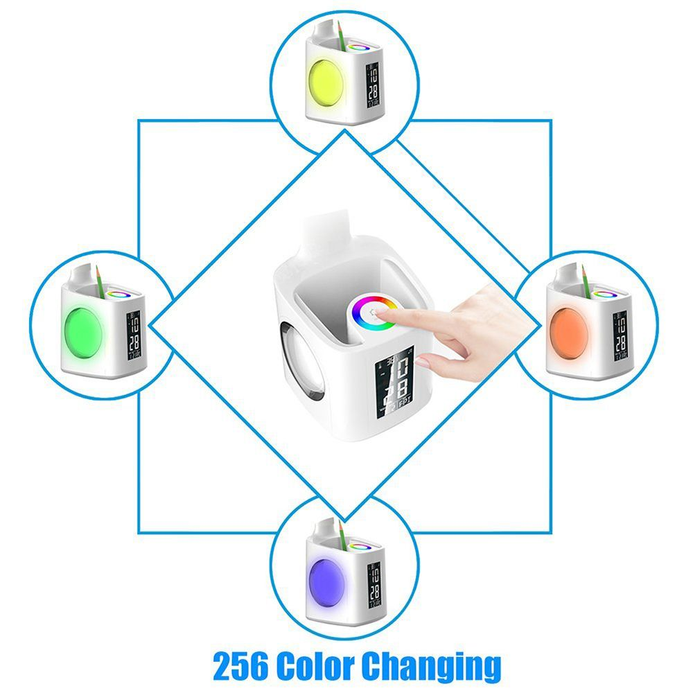 10W 2A Dimmable LED Desk Lamp with USB Charging Port Pen Holder Temperature Calendar Clock AC 220V