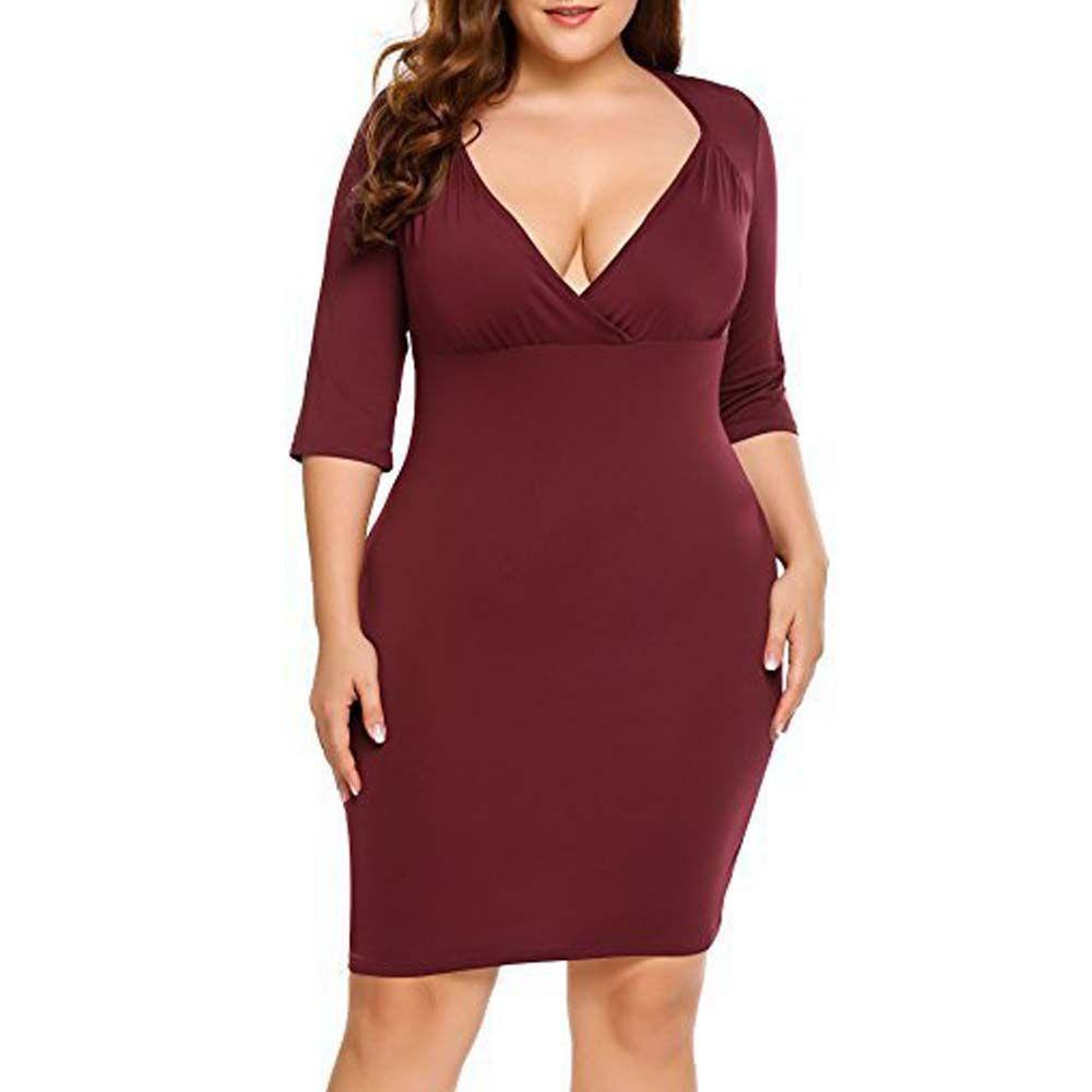 Big Size Evening Dress V Collar Seven Point Sleeve Dress