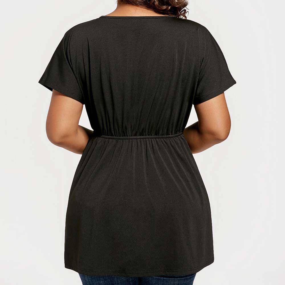 V Collar Embroidered Irregular T-Shirt