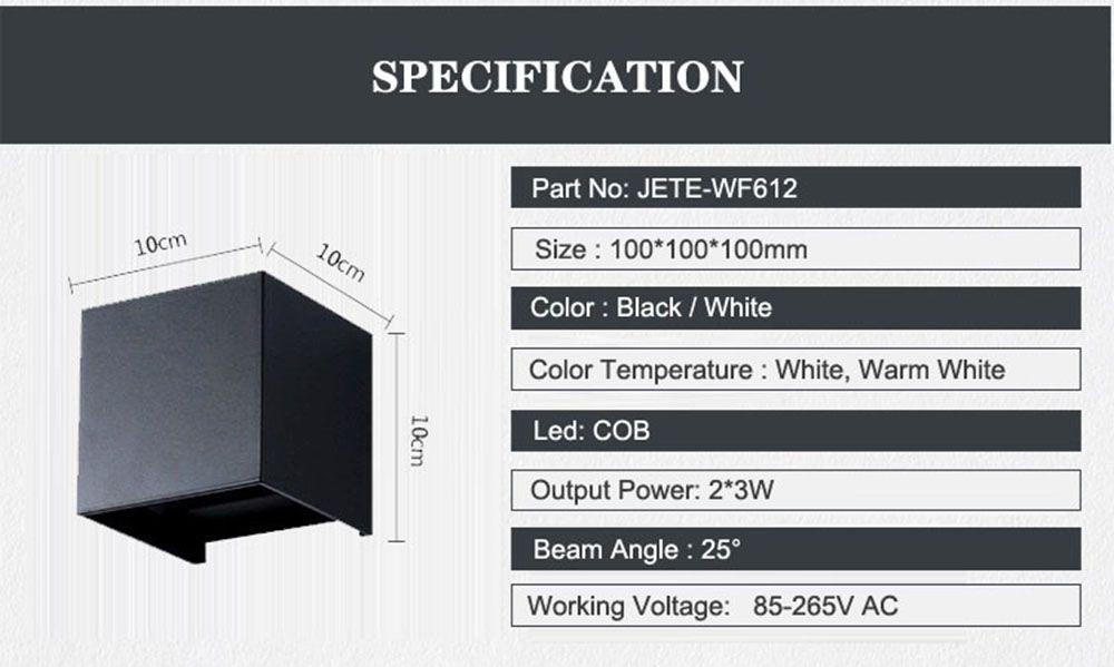 Indoor and Outdoor Waterproof Wall Lamp Garden and Corridor Light AC 85 - 265V