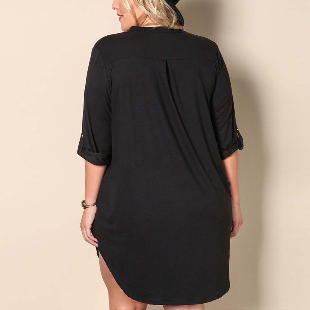 Solid Knitted Dress Fat  Collar Irregular Big Swinging Dress