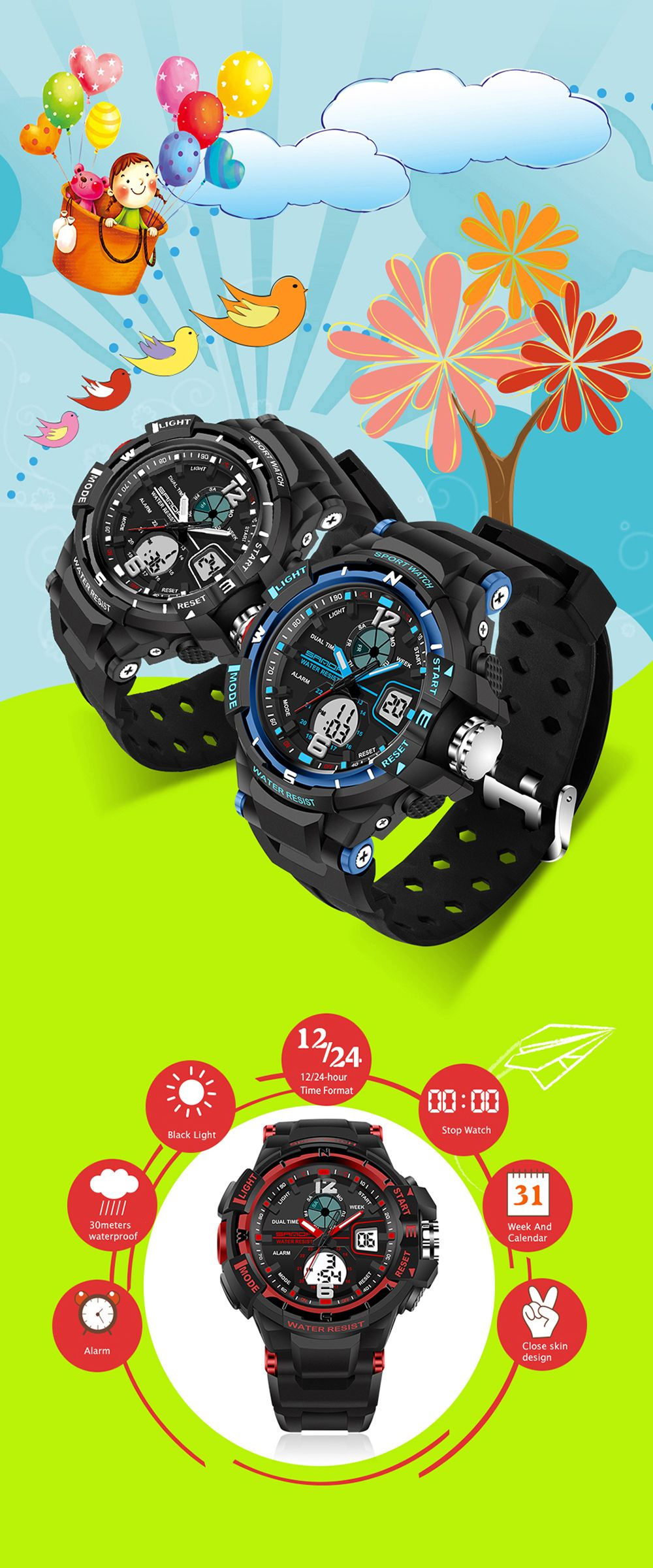 SANDA Large 5319 Fashion Outdoor Sports Men Watch Luminous Watch with Box