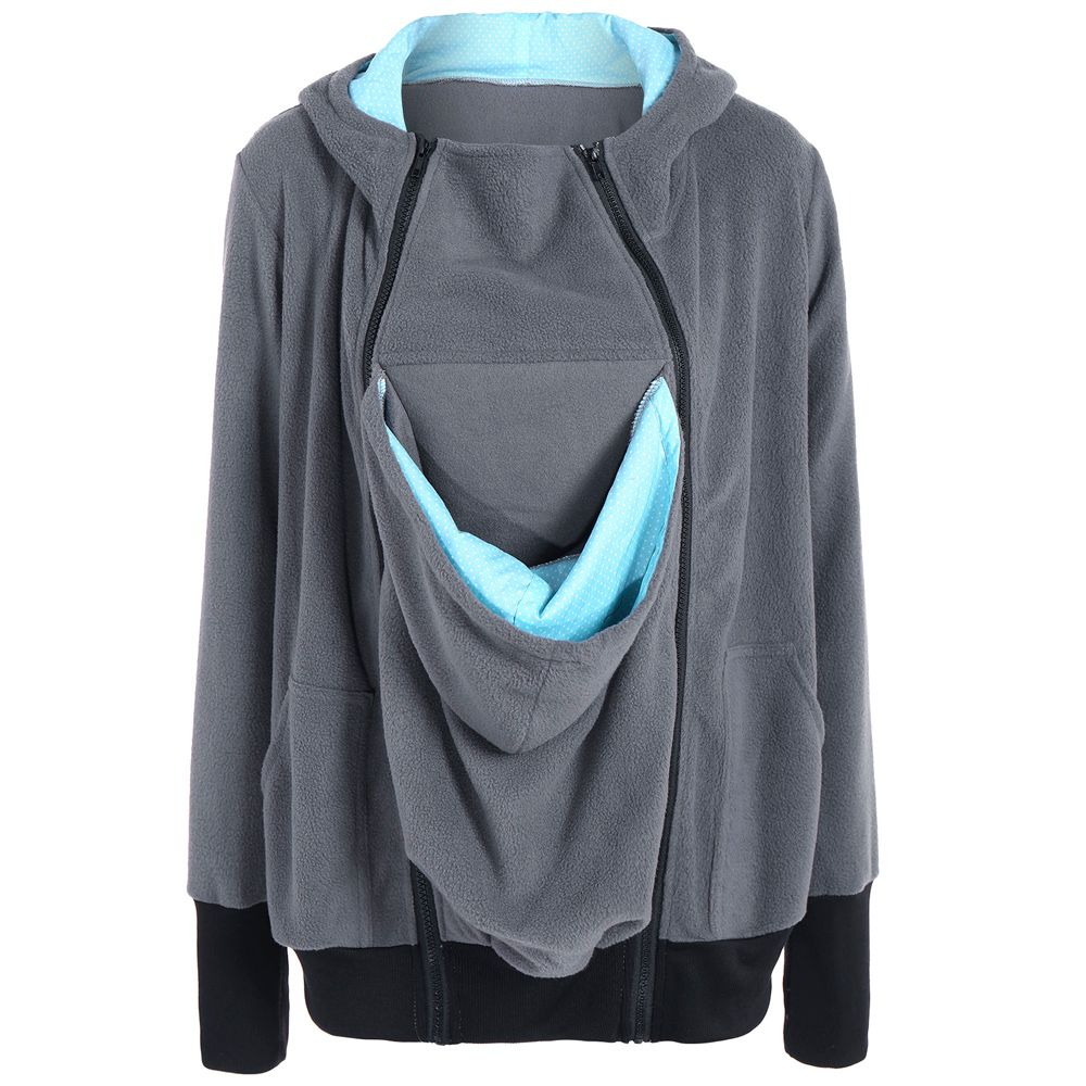 Womens Maternity Kangaroo Hooded Sweatshirt for Baby Carriers Coats