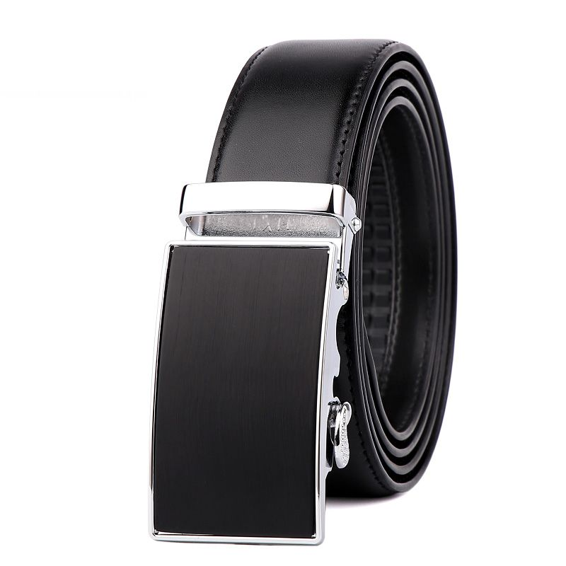 Men's Leather Bussiness Ratchet Belt with Nickel-free Automatic Buckle G89004