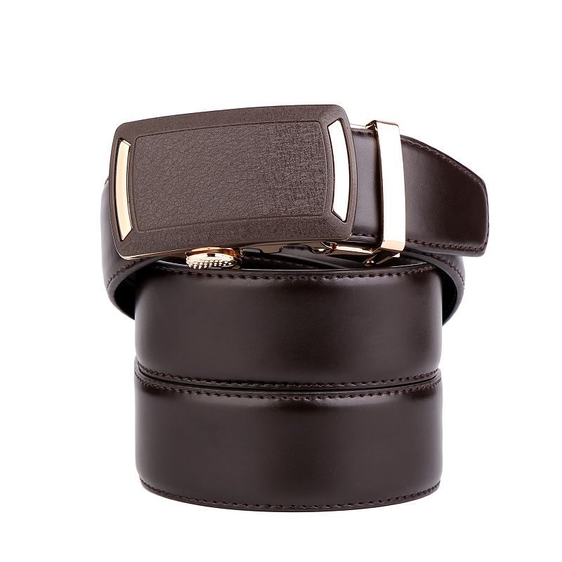 Men's Leather Belt  Dress Ratchet  with Nickel-free Automatic Buckle G89001