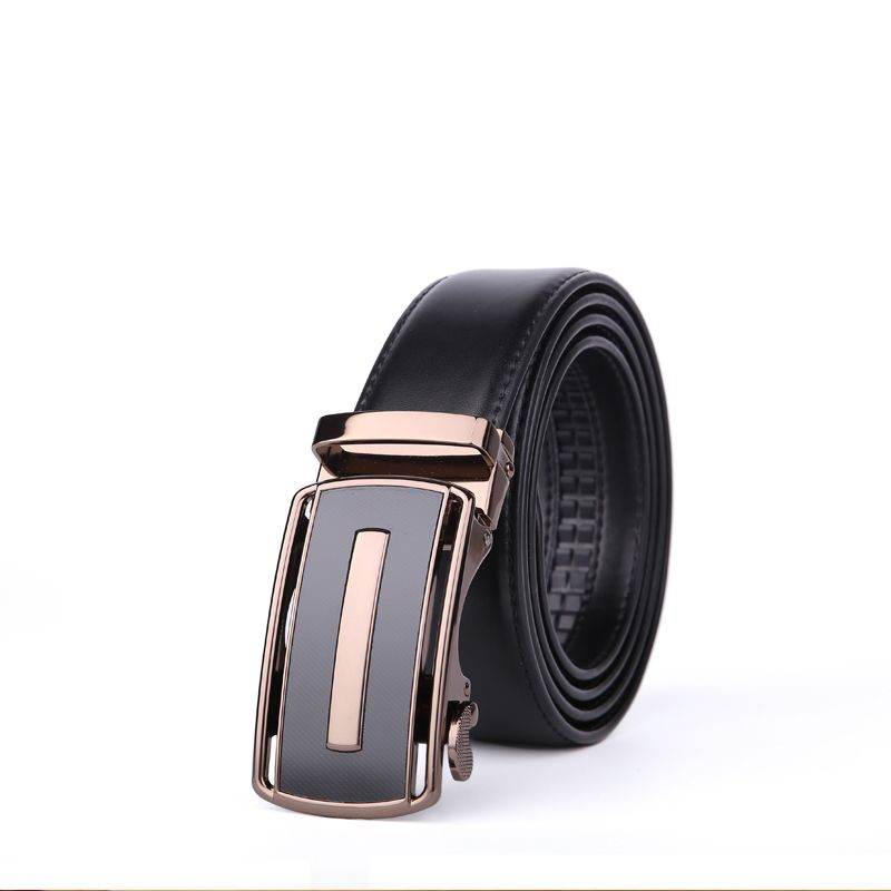 Men's Bussiness Leather Ratchet Belt with Automatic Adjustable Buckle G88972