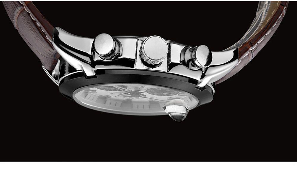 Baogela 1602 Men Multifunctional Fashionable Causal Leather Strap Sports Quartz Wrist Watch