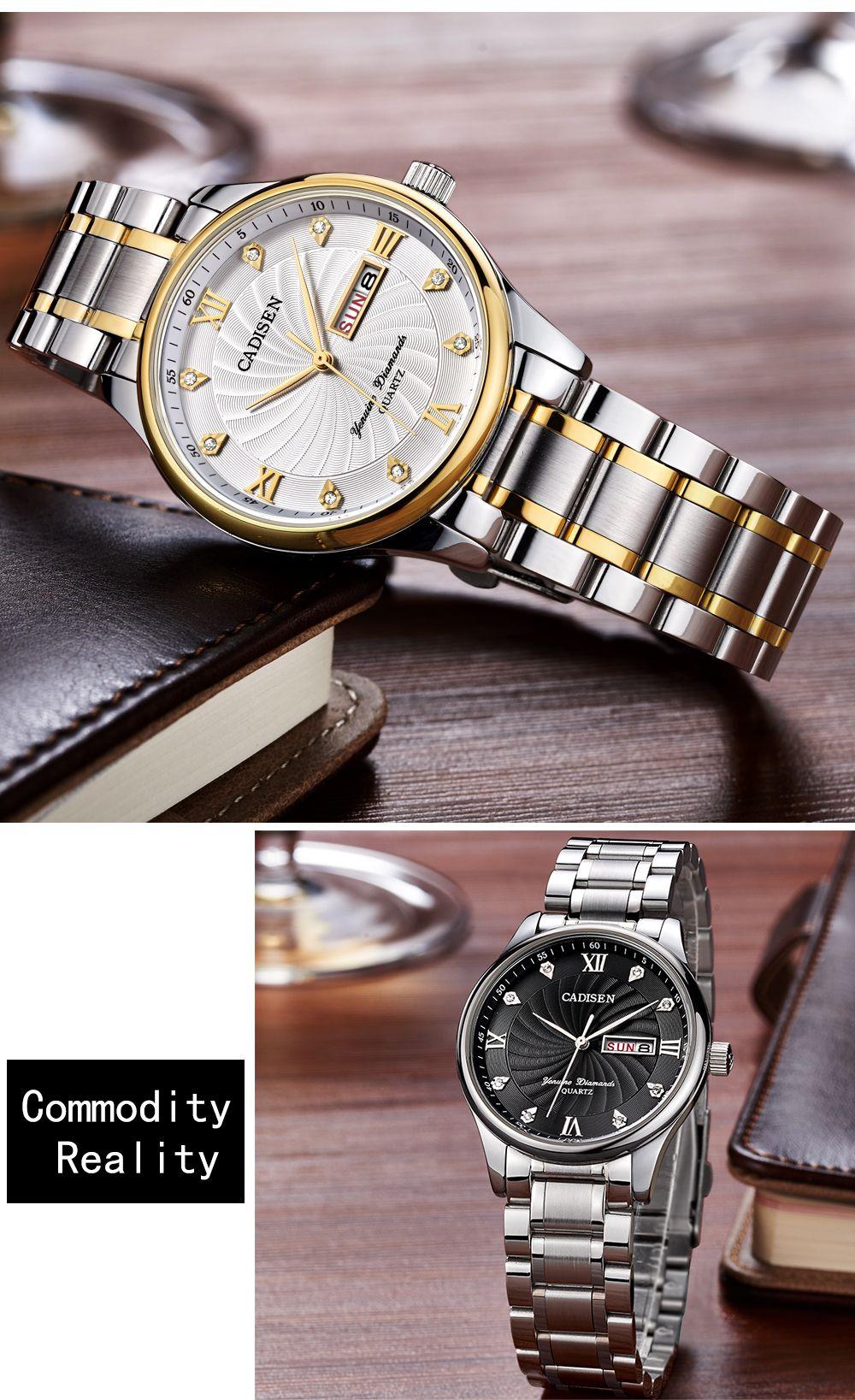 CADISEN C2012M Men Stainless Steel Waterproof Quartz Watch