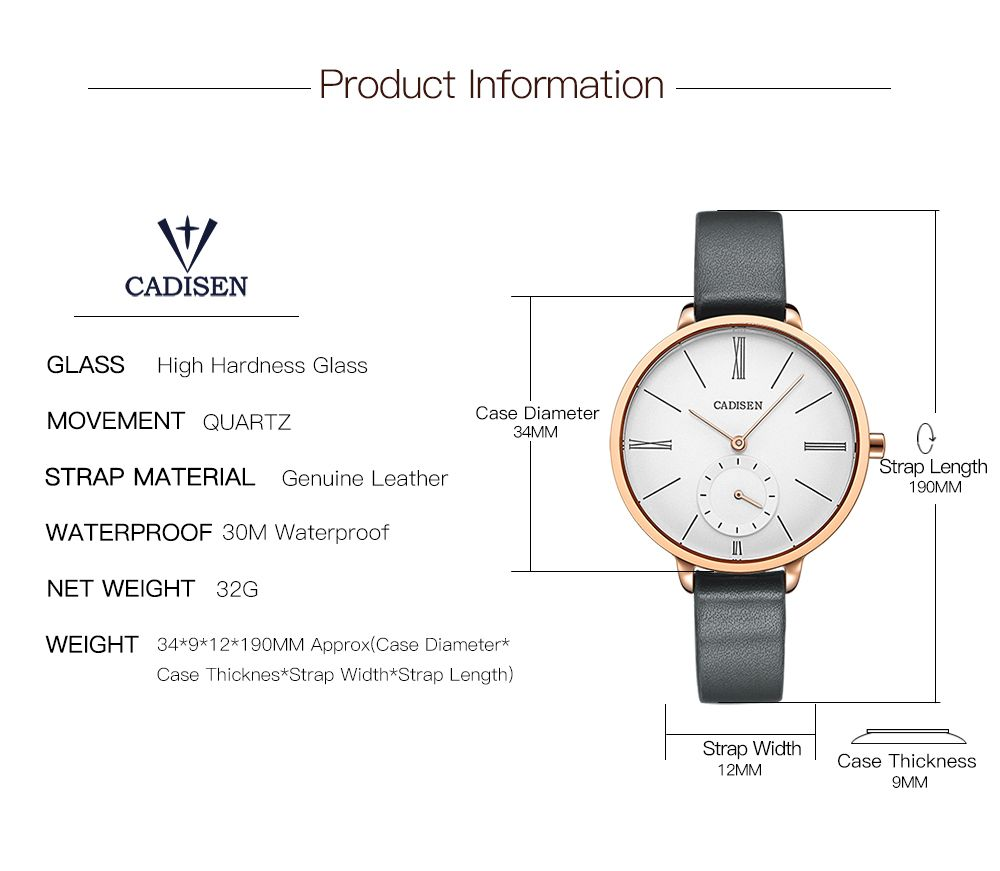 CADISEN C6135 Contracted Leather Band Quartz Women Watch