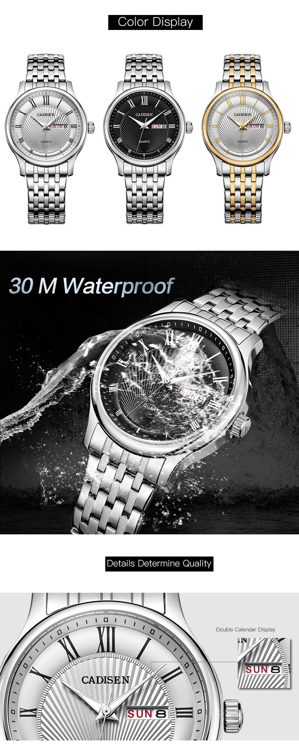 CADISEN C6128 Men Luxury Stainless Steel Band Quartz Watch