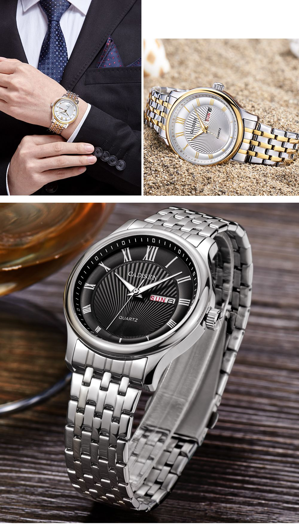 CADISEN C6128 Men Luxury Stainless Steel Band Quartz Watch