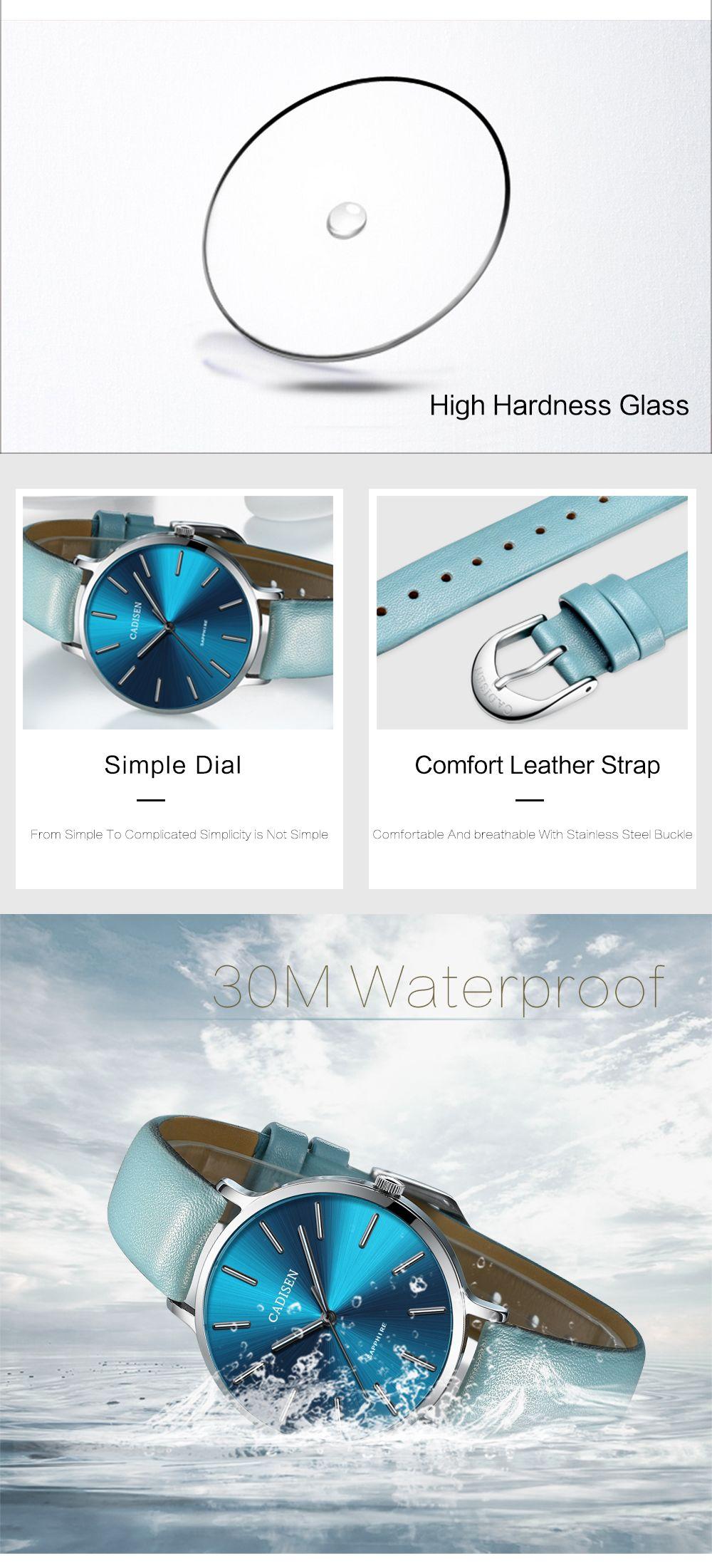 CADISEN C6136 Women Leather Band Waterproof Quartz Watches