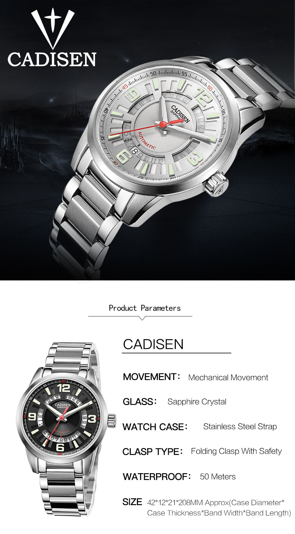 CADISEN C8100 Men Stainless Steel Case Automatic Wristwatch