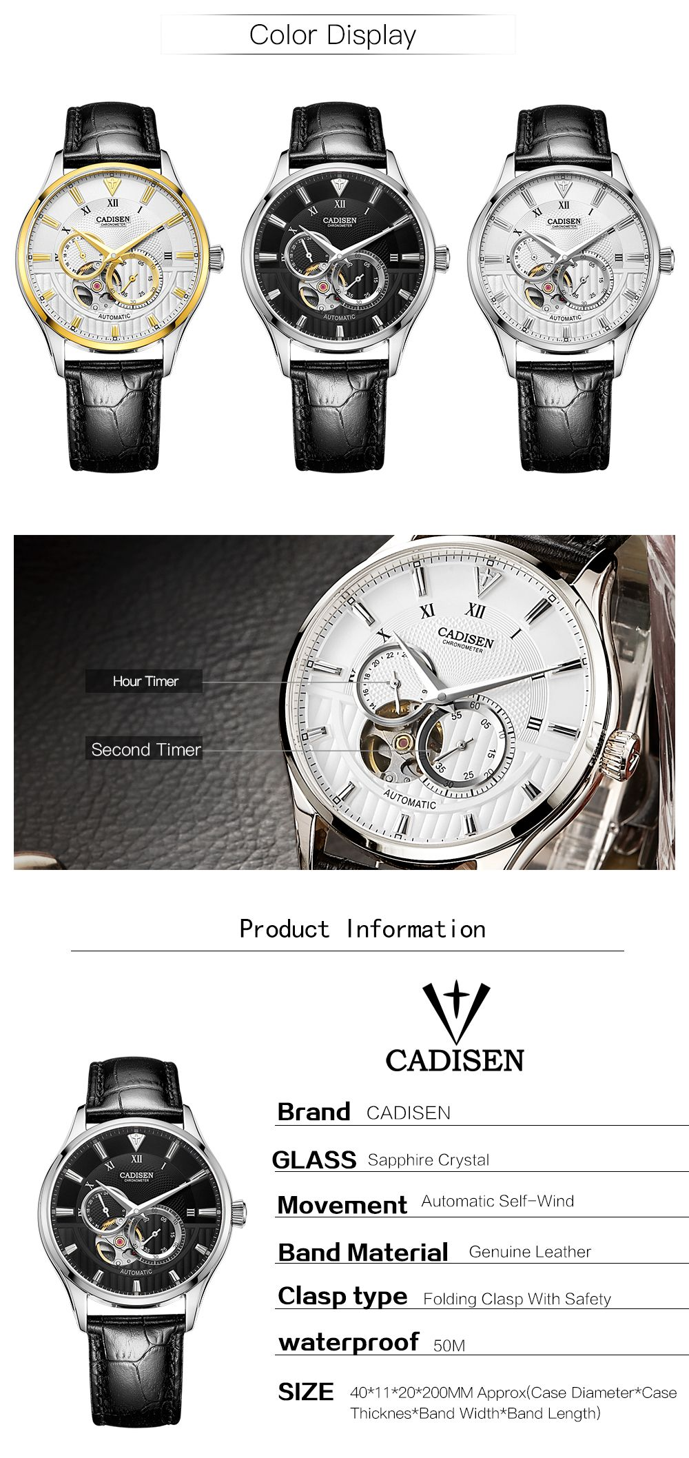 CADISEN C8111 Men Leather Band Automatic Wristwatch