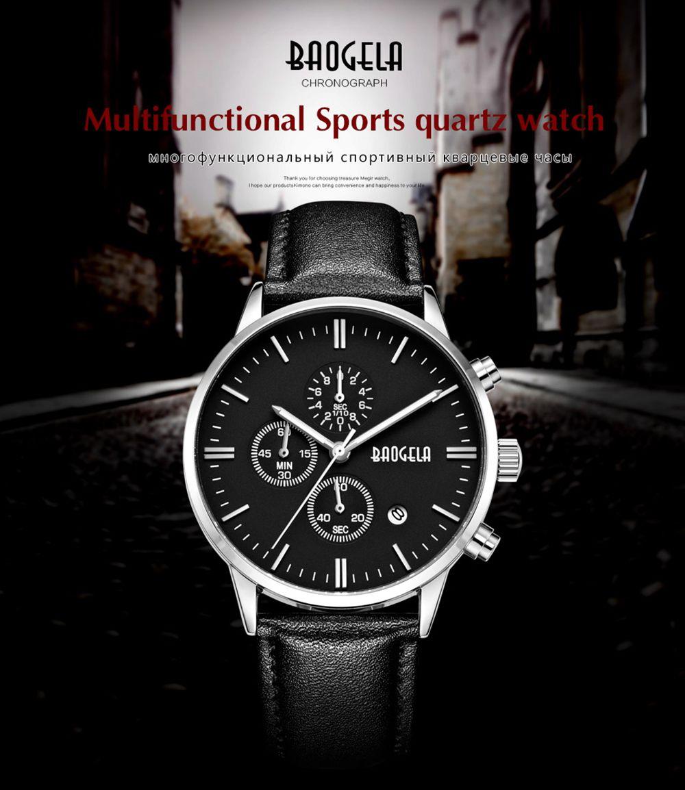 Baogela 1706 Men Chronograph Luminous Date Leather Strap Quartz Wrist Watch