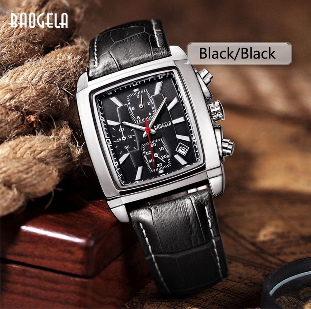 Baogela 1613 Men Chronograph Watch Luminous Waterproof Quartz Wrist Watch Leather Strap Rectangle Dial