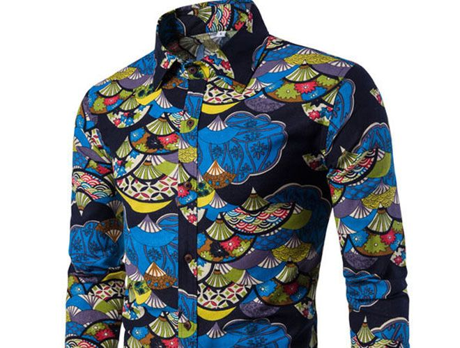 Autumn and Winter New Men'S Long Sleeves Printed Floral Beach Shirts  Night Clubs Shirts