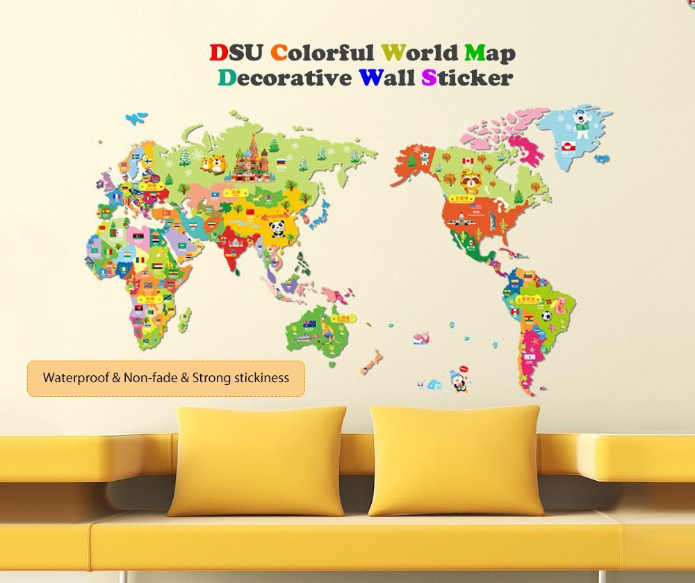 Colorful World Map Wall Sticker Decal Vinyl Art Kids Room - Colorful world map