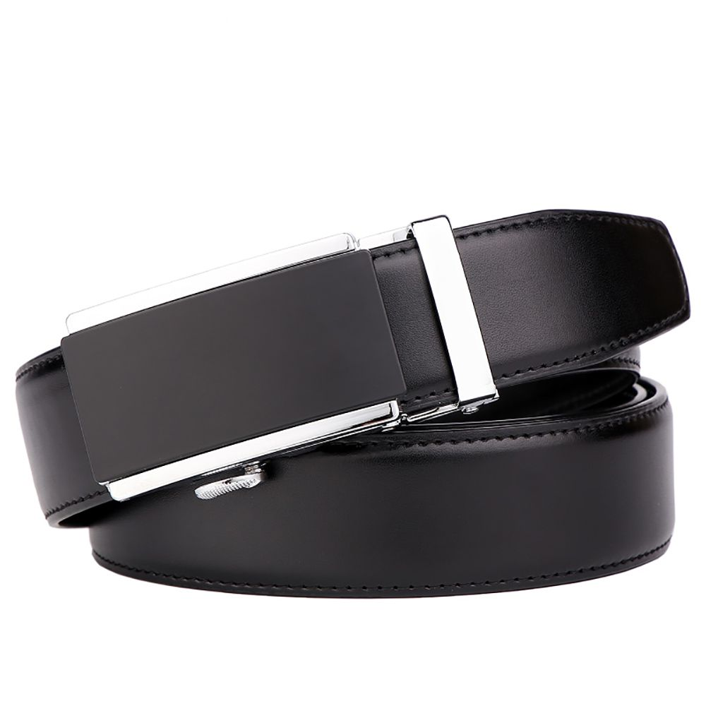 Men's  Leather Belt Reversible Wide Rotated Simple Automatic Buckle  G89007